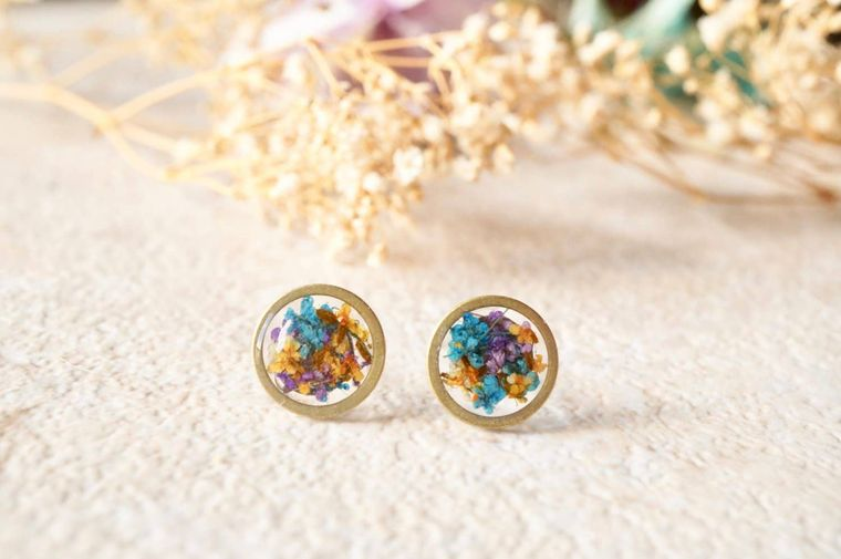 Real Pressed Flowers and Resin Circle Stud Earrings