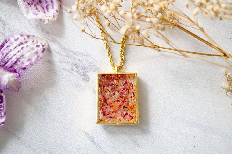 Gold Square in Red & Orange Real Dried Flowers and Resin Necklace