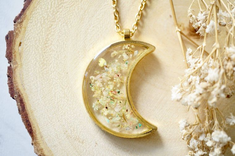 Gold Moon in Pastel Mix Real Dried Flowers in Resin Necklace