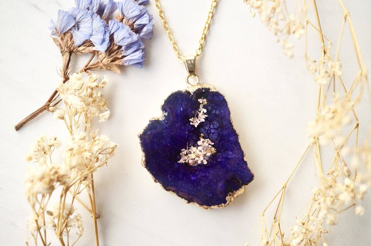 Purple Druzy Geode in Gold & Purple Real Dried Flowers in Resin Necklace
