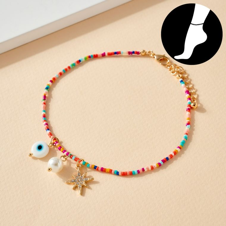 Seed Beads Thin Anklet with Charms