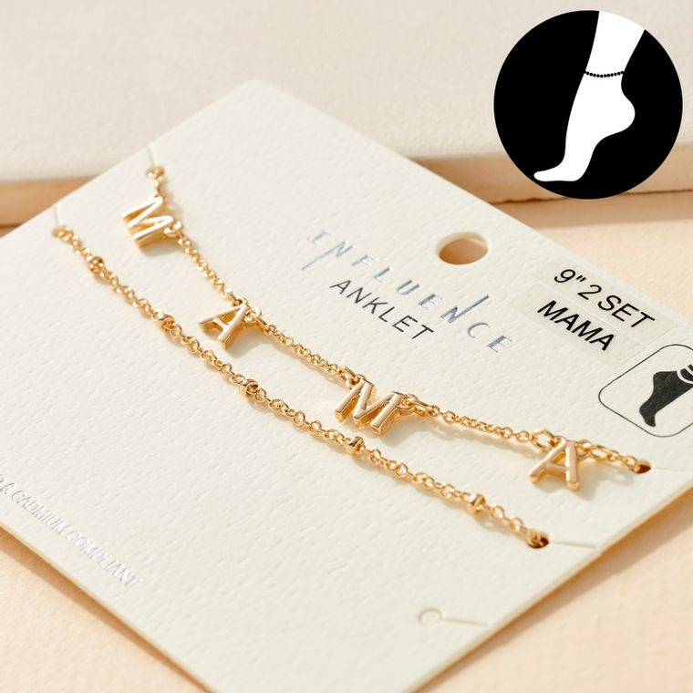 Set of MAMA Charm and Simple Chain Anklets