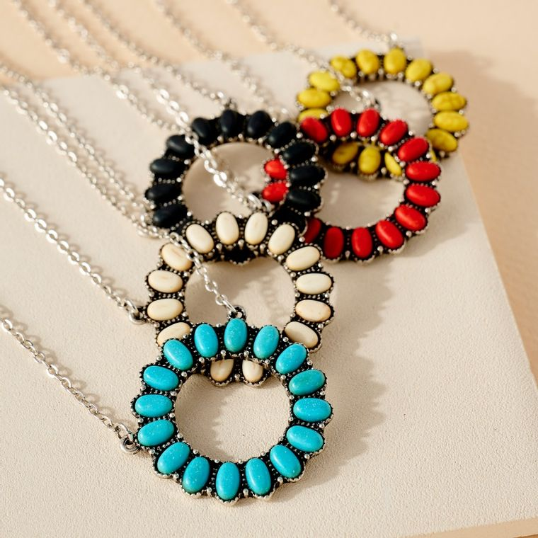 Western Short Necklace with Turquoise Stone Charm