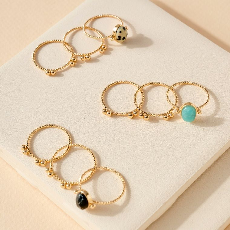 Set of 3 Unique Rings with Stone Embellished