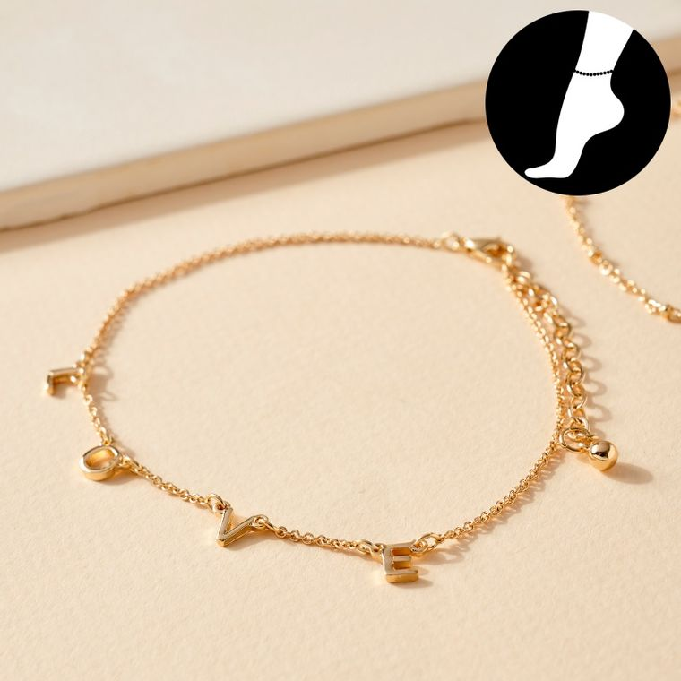 Set of LOVE Charm and Simple Chain Anklets