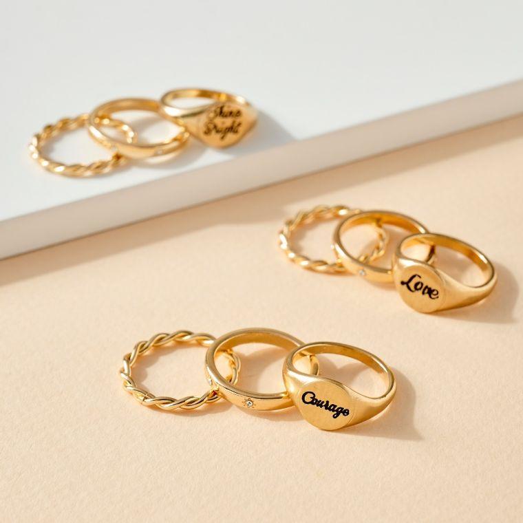 Inspirational Words Engraved Ring Set