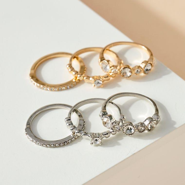 Set of 3 Rhinestone Embellished Rings