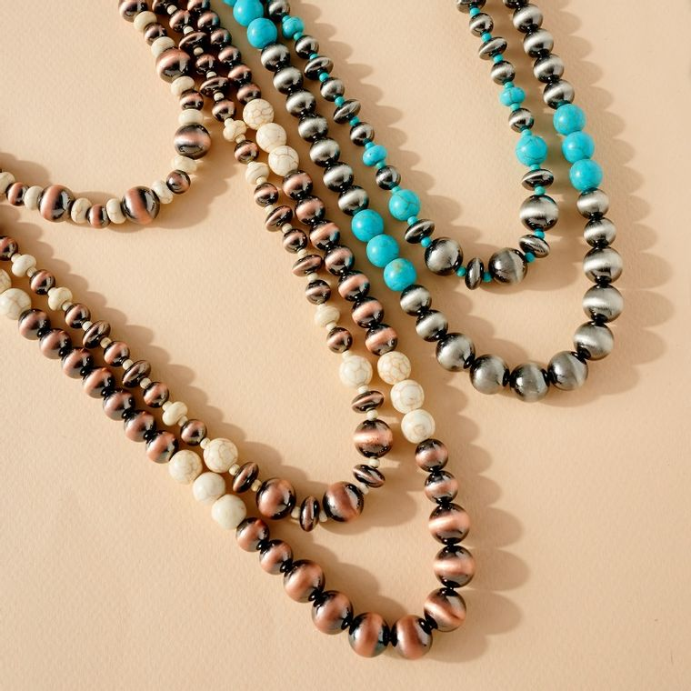 3 Layered Navajo Pearls &Turquoise Beads Necklace