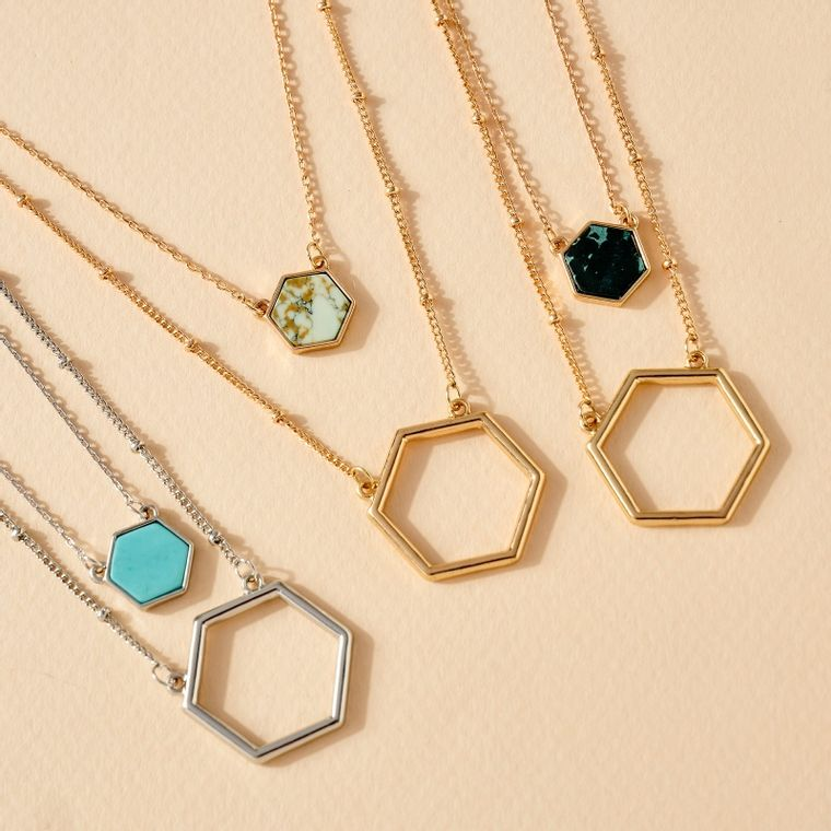 Double Layered Hexagon Charm Necklace