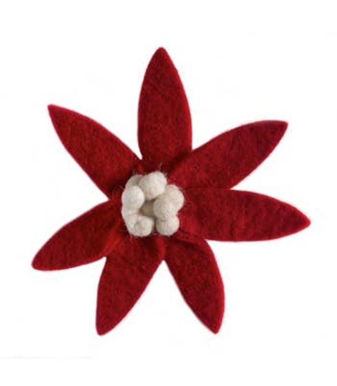 Red Flower Clip on Ornament with Cream Center
