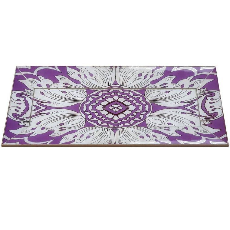 Handmade Reverse Painted Mirror Tray with Beveled Edge in Lavender - Small