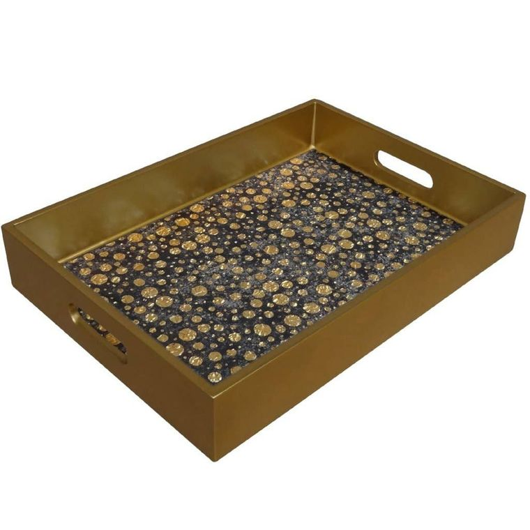 Reverse Painted Mirror Tray in Gold Dots - Medium