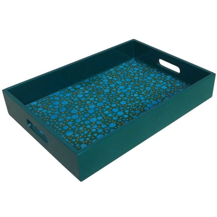 Reverse Painted Mirror Tray in Blue and Green Dots - Medium