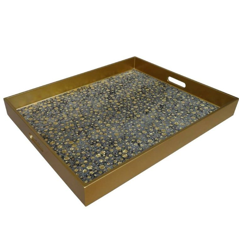 Reverse Painted Mirror Tray in Gold Dots - Extra Large