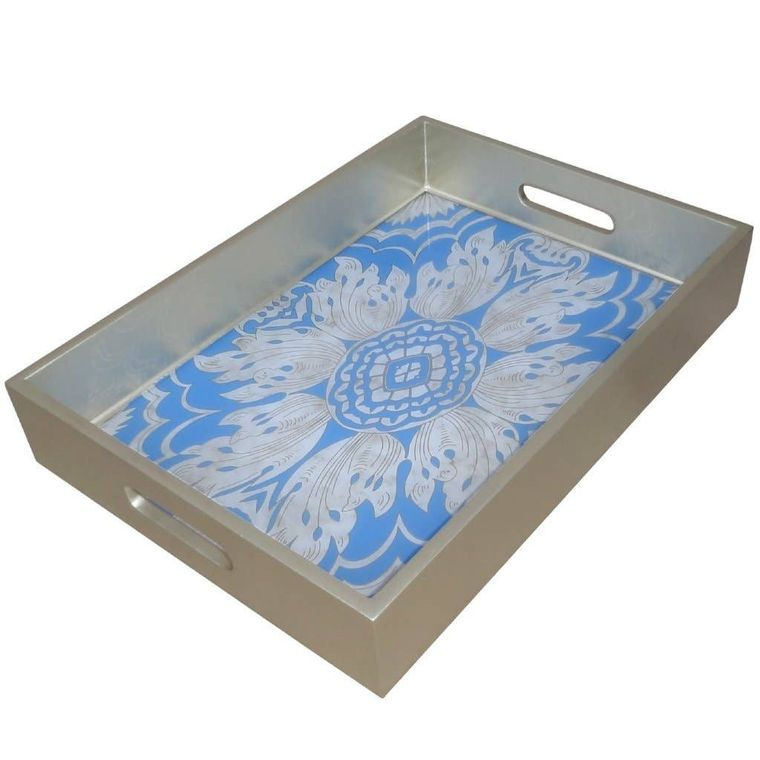 Handmade Reverse Painted Mirror Tray with Handles in Sky Blue - Medium