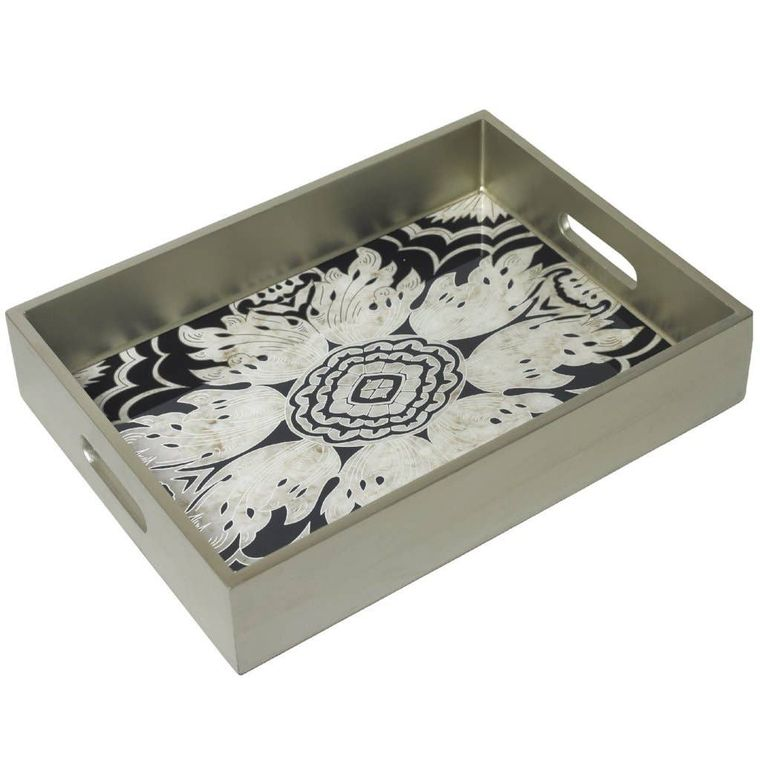 Handmade Reverse Painted Mirror Tray with Handles in Midnight - Medium