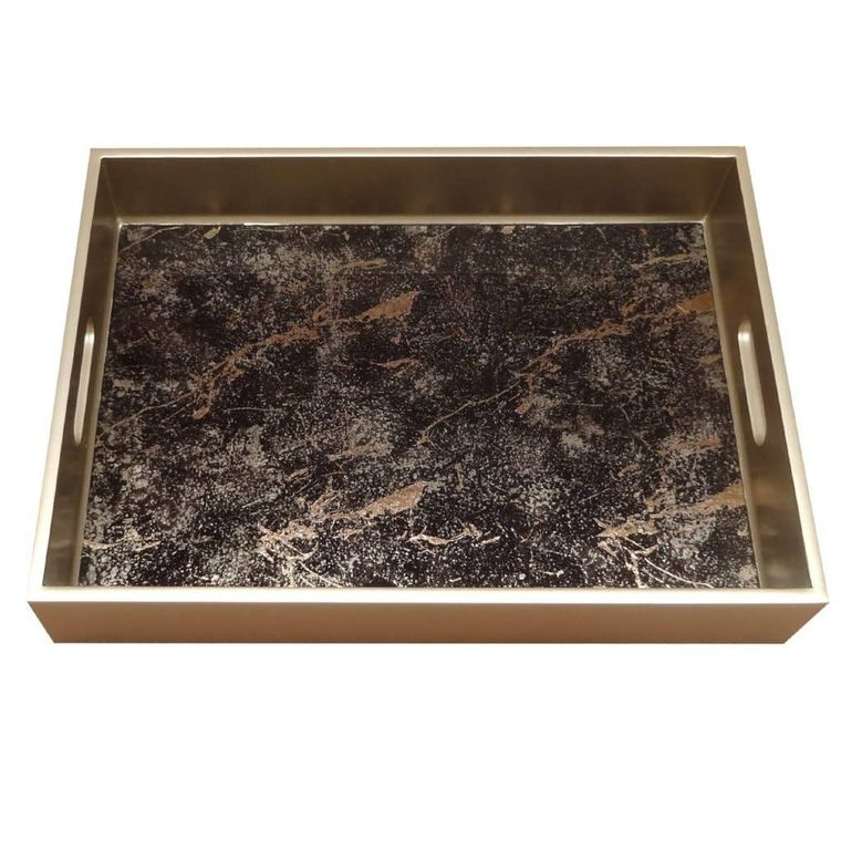 Reverse Painted Mirror Tray in Black and Gold Marble