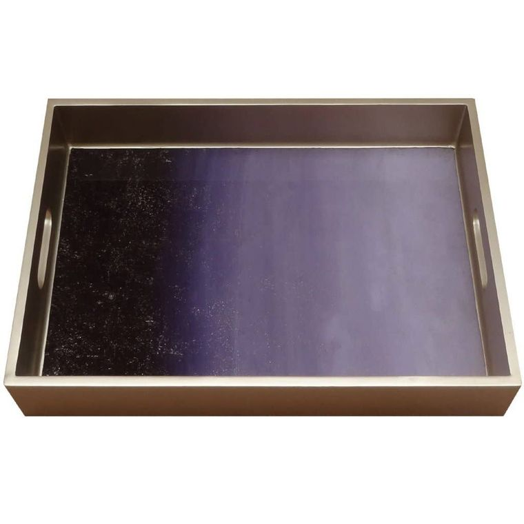 Handmade Reverse Painted Mirror Tray with Handles in Purple Ombre - Medium