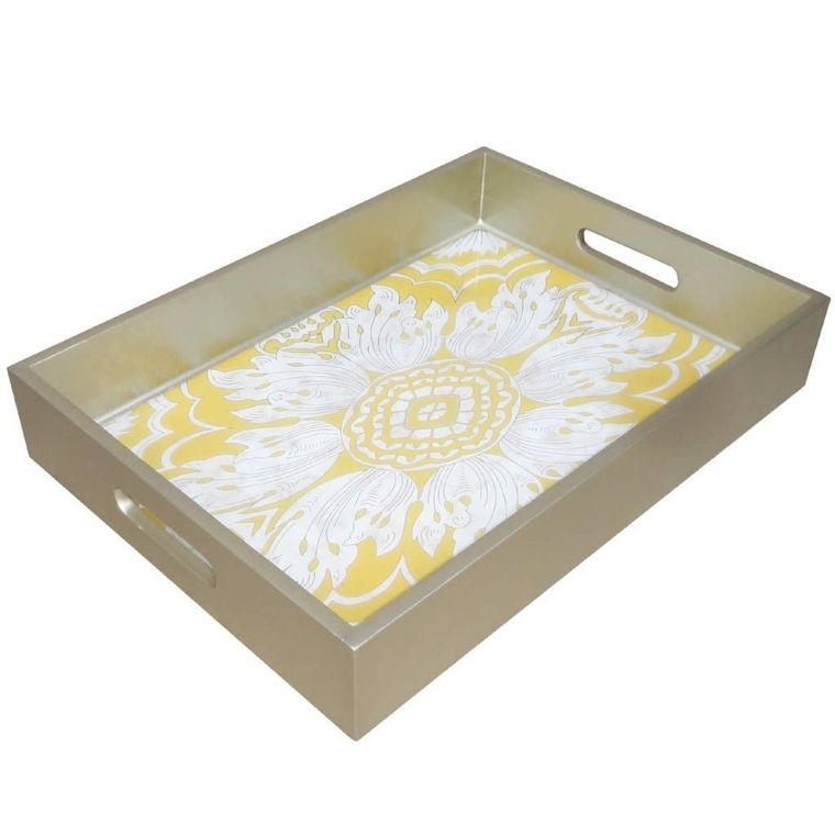 Handmade Reverse Painted Mirror Tray with Handles in Yellow - Medium