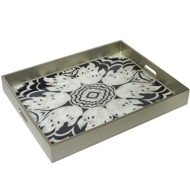 Reverse Painted Mirror Tray in Midnight - Extra Large