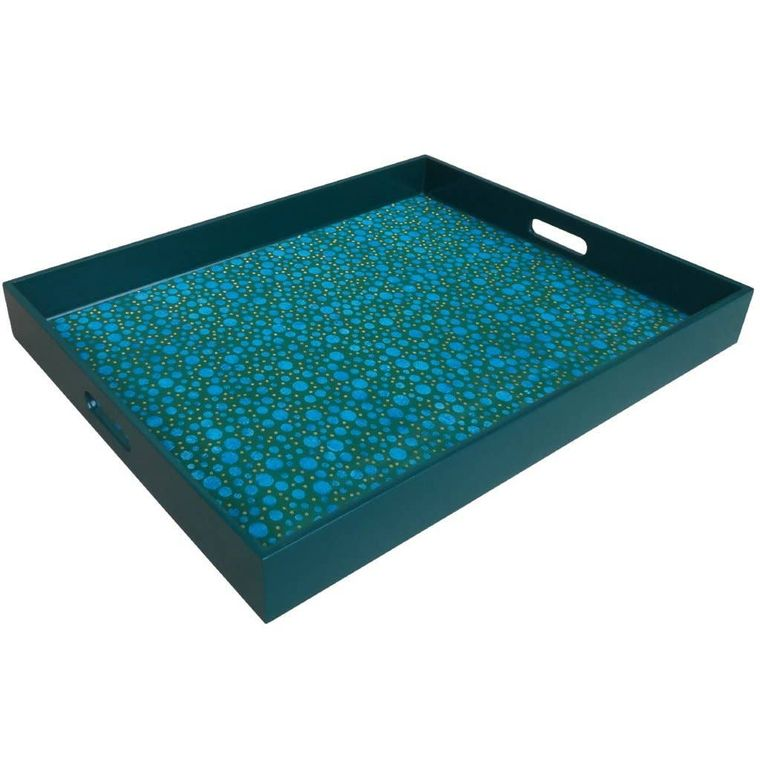 Reverse Painted Mirror Tray in Blue Bubbles - Extra Large
