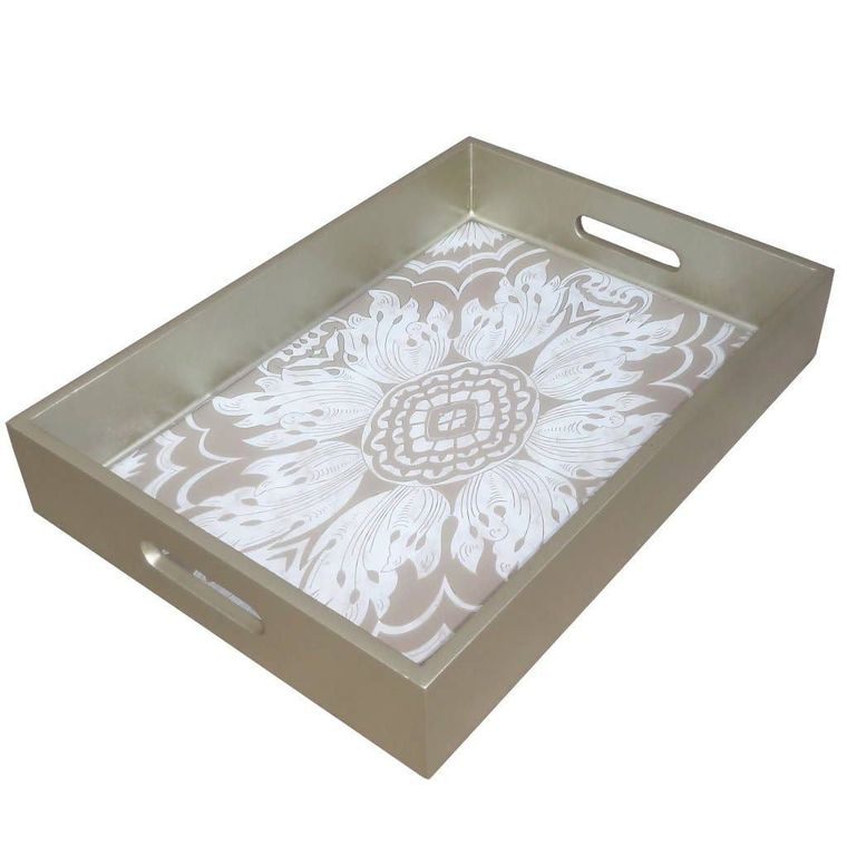 Handmade Reverse Painted Mirror Tray in Beige and Silver