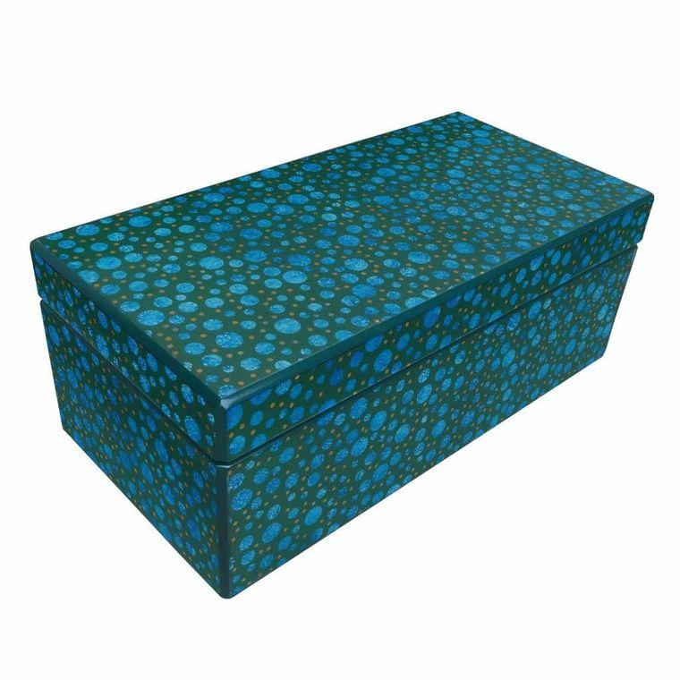 Reverse Painted Mirror Box - Large - in Blue and Green Dots