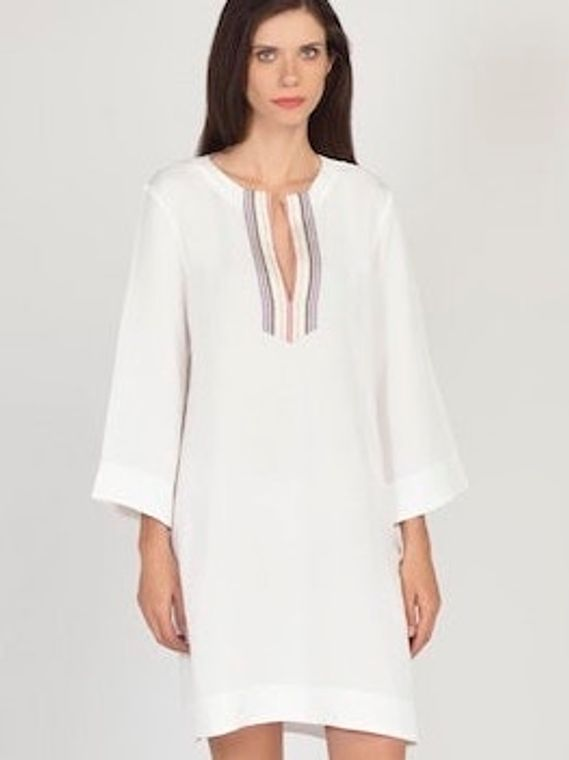 White Hand-Embroidered Linen/Rayon Dress - Made in Greece