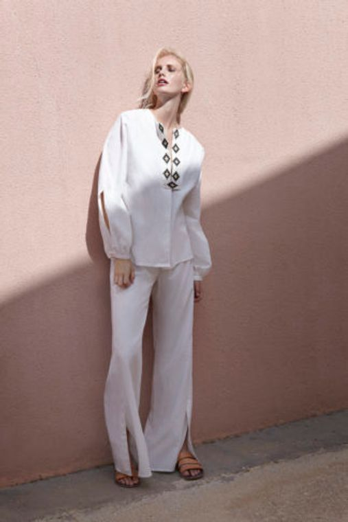 Embroidered Linen Blouse - Handmade in Greece