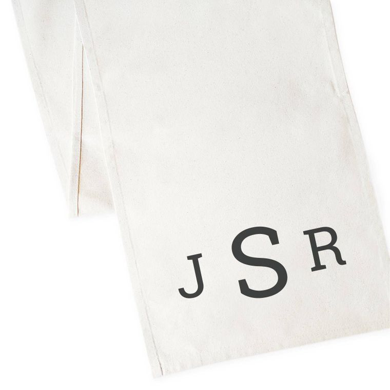 Personalized Triple Monogram Table Runner and Party Decor