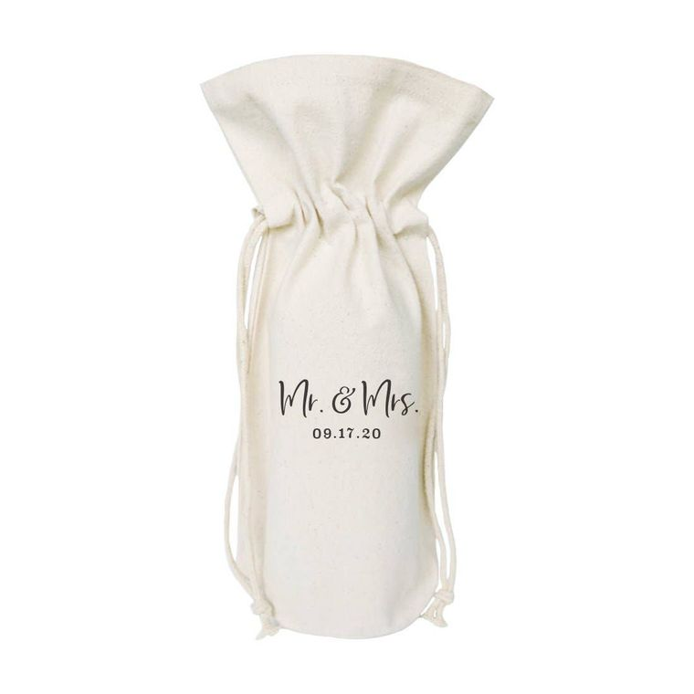 Personalized Mr. & Mrs. with Date Wine Bag