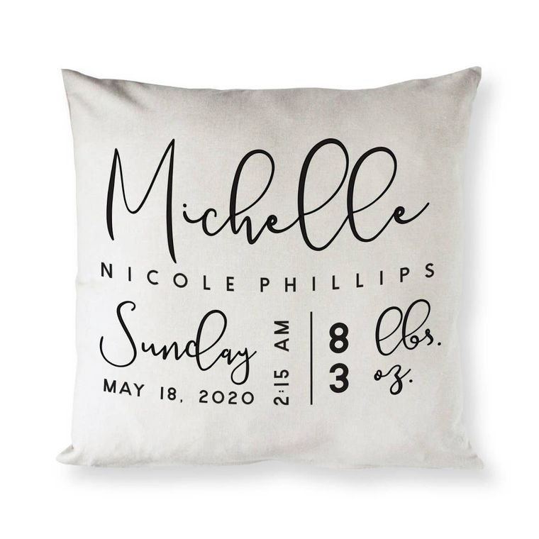 Personalized Newborn Baby Nursery Home Decor Pillow