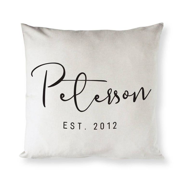 Personalized Last Name and Date  Home Decor Pillow Cover