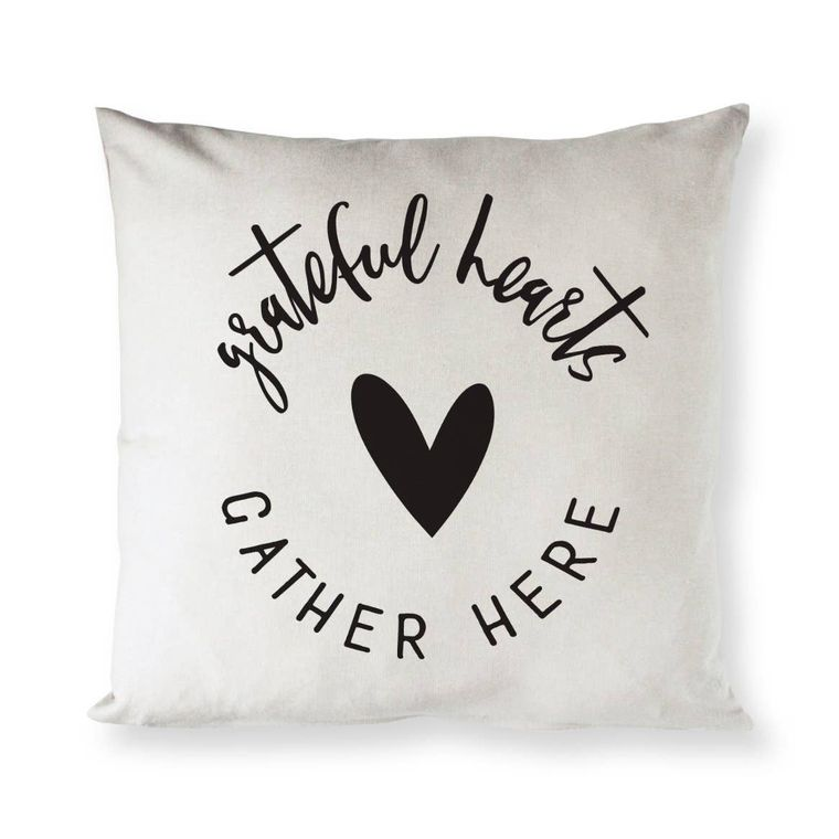 Grateful Hearts Gather Here Home Decor Pillow Cover