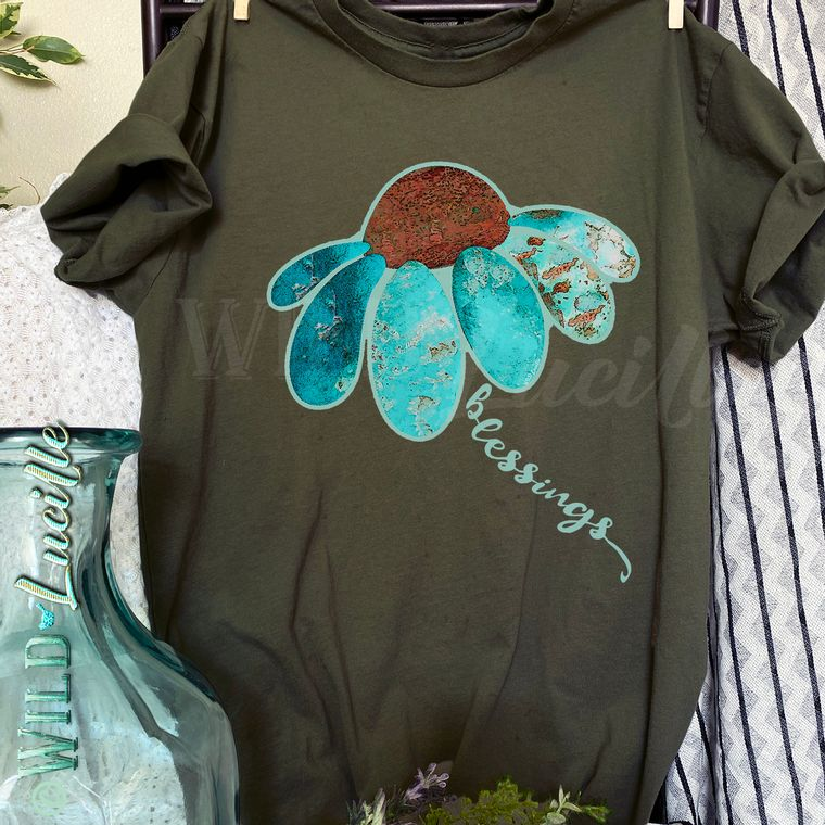 Turquoise Sunflower Blessings - Unisex sized Graphic Print Crewneck Tee (more colors!)