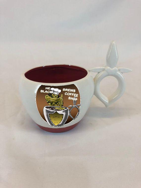 "He'Brews Black Coffee Shops Brands ""Patrix Red Bottom Cup """