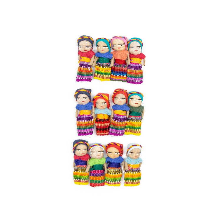 Set of 12 Cotton Worry Dolls