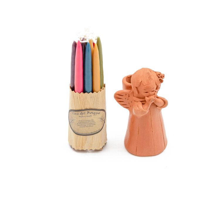 Blushing Angel Terracotta Candleholder with Candles