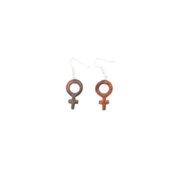 Wood Female Symbol Earrings