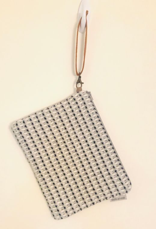 Zip Clutch Purse with leather handle - Handmade in Greece