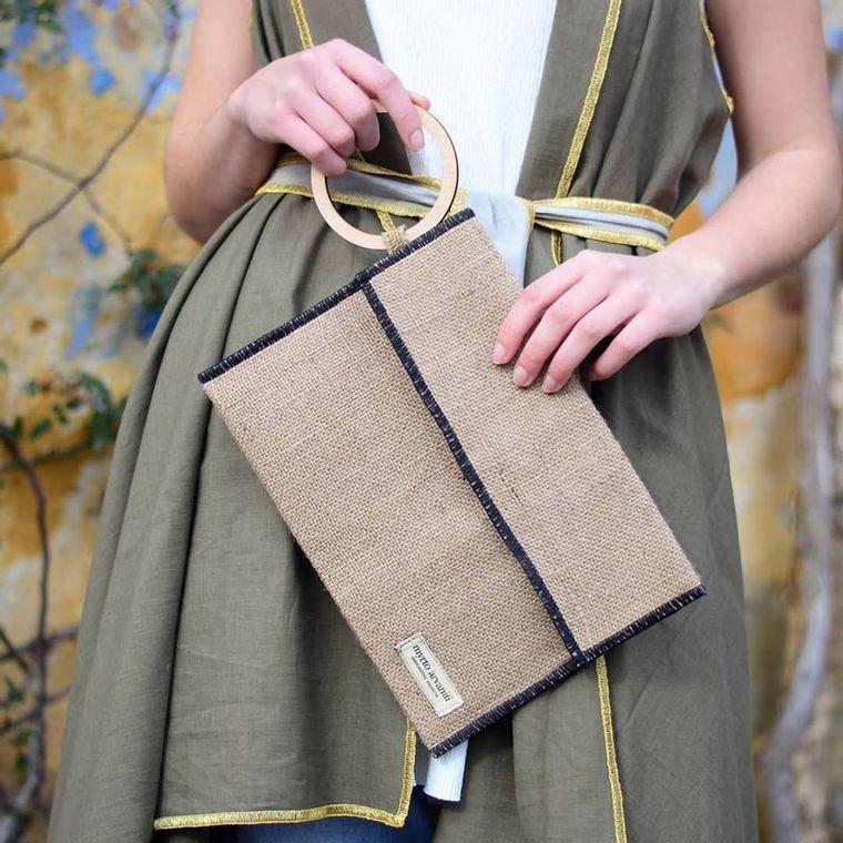 Natural Burlap Linen Clutch Bag with Beechwood Handle - Handmade in Greece