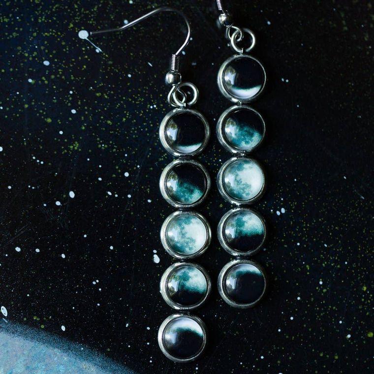Moon Phase Vertical Earrings