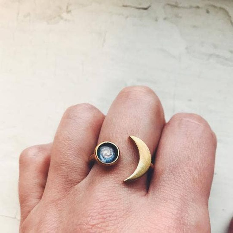 Crescent Moon Ring with Galaxy Image