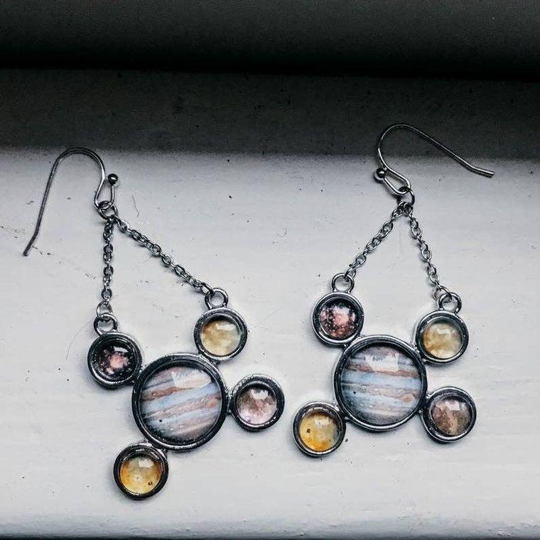 Jupiter Earrings with Galilean Moons
