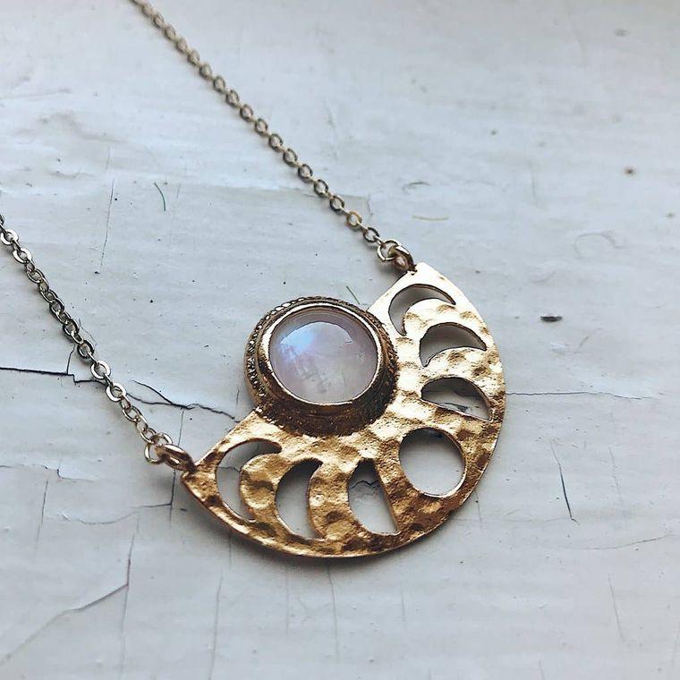 Moon Goddess Necklace with Rainbow Moonstone