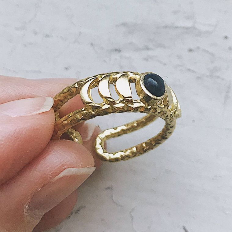 New Moon Ring - Moon Phase Band with Black Opal