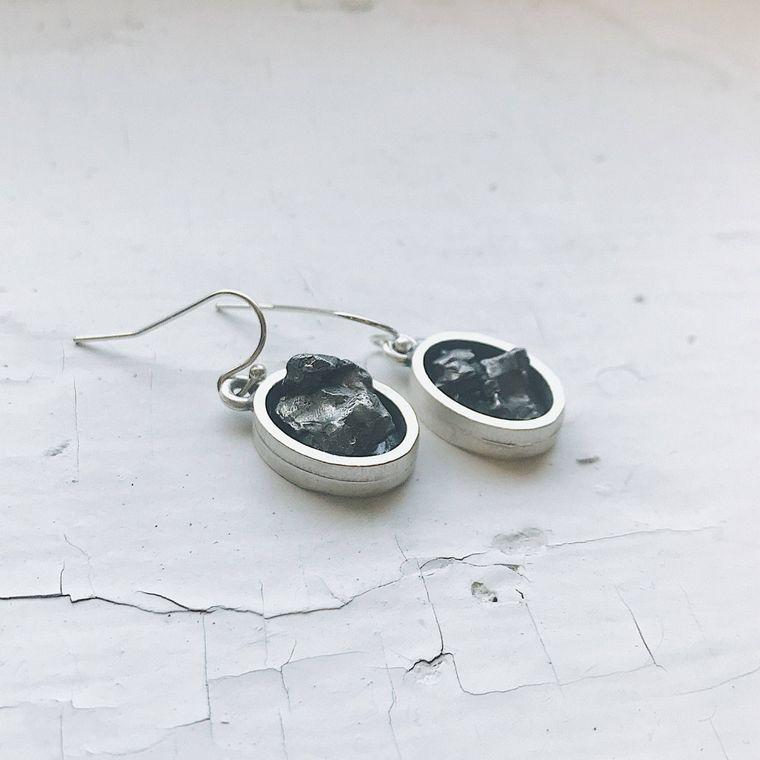 Authentic Raw Meteorite Oval Dangle Silver Tone Earrings