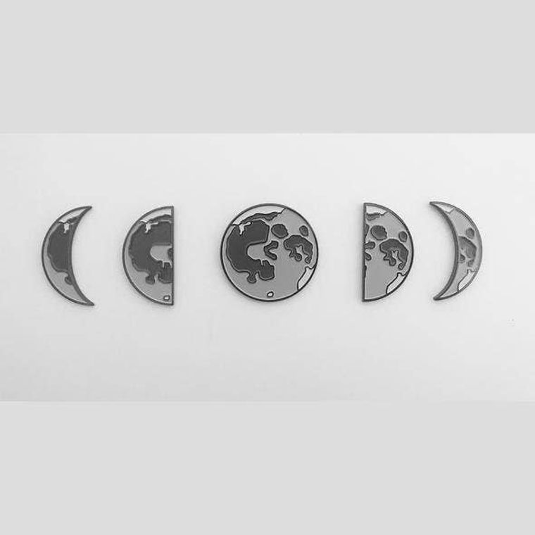 Phases of the Moon Enamel Pin Set of 5