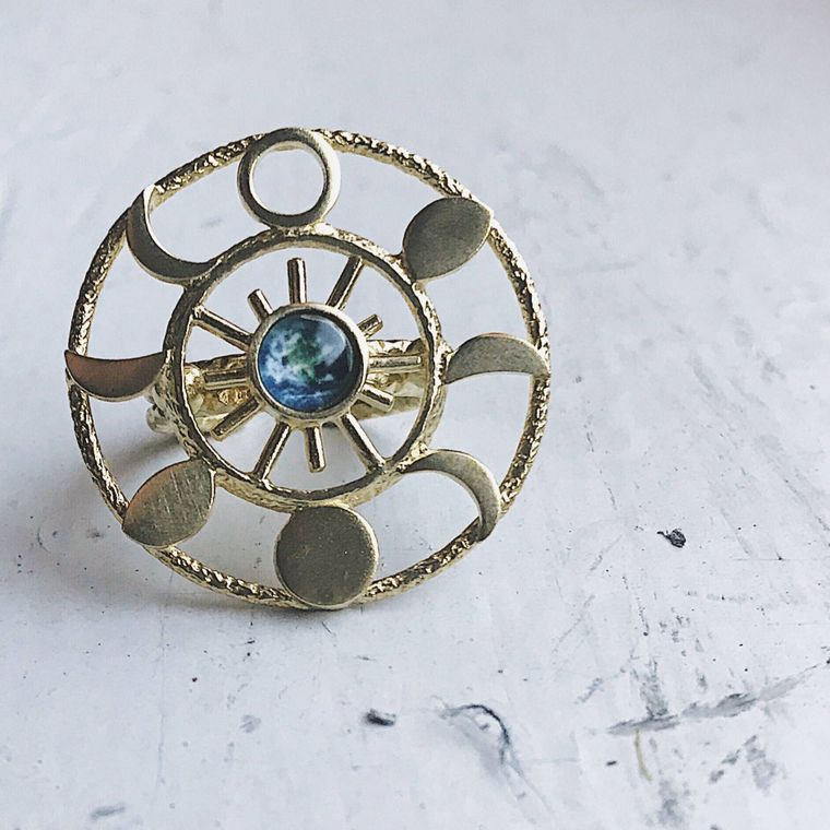 Large Statement Moon Phase Cocktail Ring with Earth