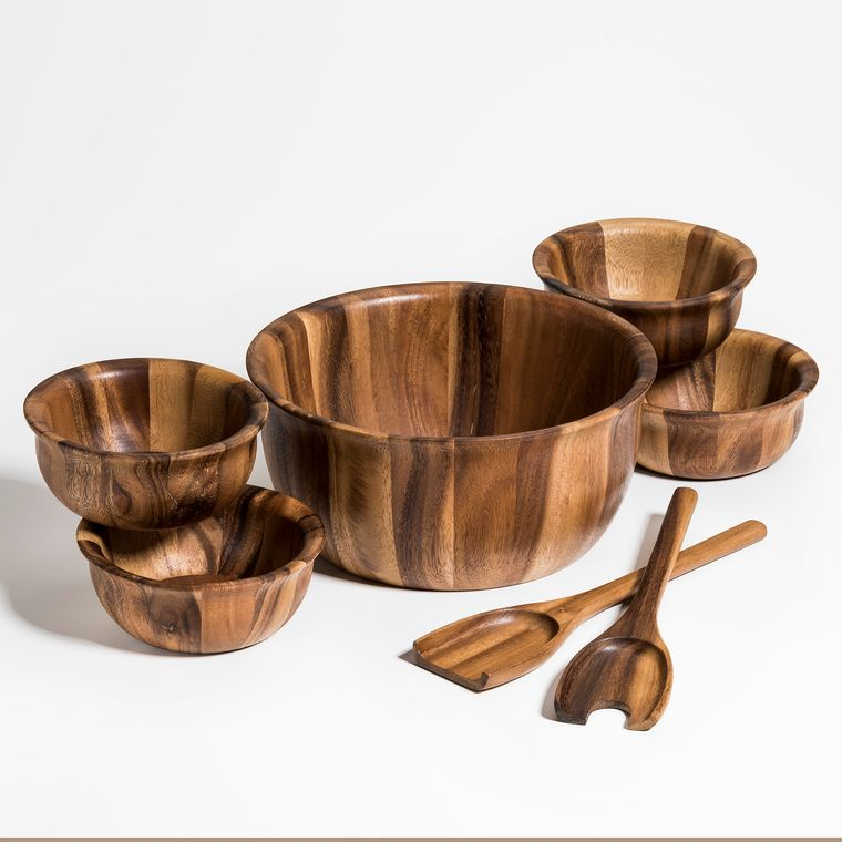 Soro 7 Piece Large Salad Bowl with Servers and 4 Individuals